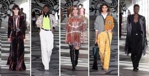 EtroVeronica Etro looked to Rudolf Nureyev and Jimi Hendrix for inspiration (her father and founder of the brand, Gimmo, collected Nureyev's costumes for years), hence the tension between ease-of-movement and statement stage-ready separates. Aran and intarsia knits, leggings, hoodies and bomber jackets contrasted with head-to-toe leopard print, paisley mini dresses and tasselled jackets with elaborate frogging detailing through a celebratory 1970s lens (this brand's MO). It was a texture-fest, with tie-dye corduroy trousers, patchwork quilted coats and sweeping velvet headlining the show.