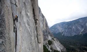Alex Honnold solos The Nose on El Capitan in Yosemite National Park, California.