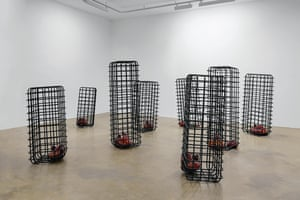 Cellules, 2012-2013 by Mona Hatoum  Mild steel and blown glass in 8 parts