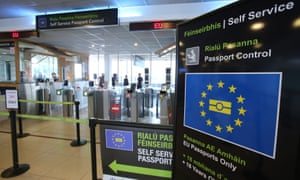 Passport control at Dublin Airport, as Britain plans to use entry points to the Irish Republic as its front line in combating post-Brexit illegal immigration, according to a report.
