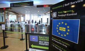 Passport control at Dublin Airport.
