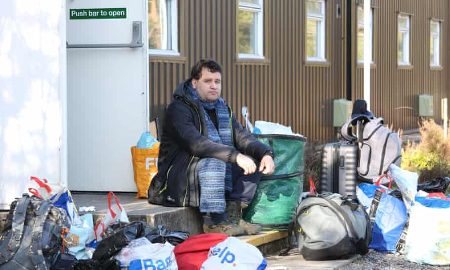 Alvaro Garcia is seen outside hotel staff accommodation with his belongings