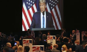 President Donald Trump speaks during the first day of the Republican national convention
