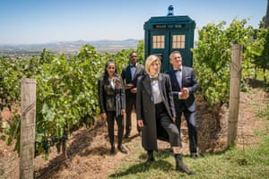 Jodie Whittaker, centre, in a Bond-themed Doctor Who with companions Mandip Gill, Tosin Cole and Bradley Walsh.