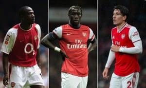 Arsenal right-backs Lauren, Bacary Sagna and Héctor Bellerín. Photographs by Getty and Rex/Shutterstock