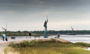 The statue of Bryrhtnoth on the Promenade Walk in Maldon in Essex