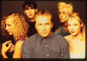 Lindy Morrison (left) with Brisbane band the Go-Betweens.