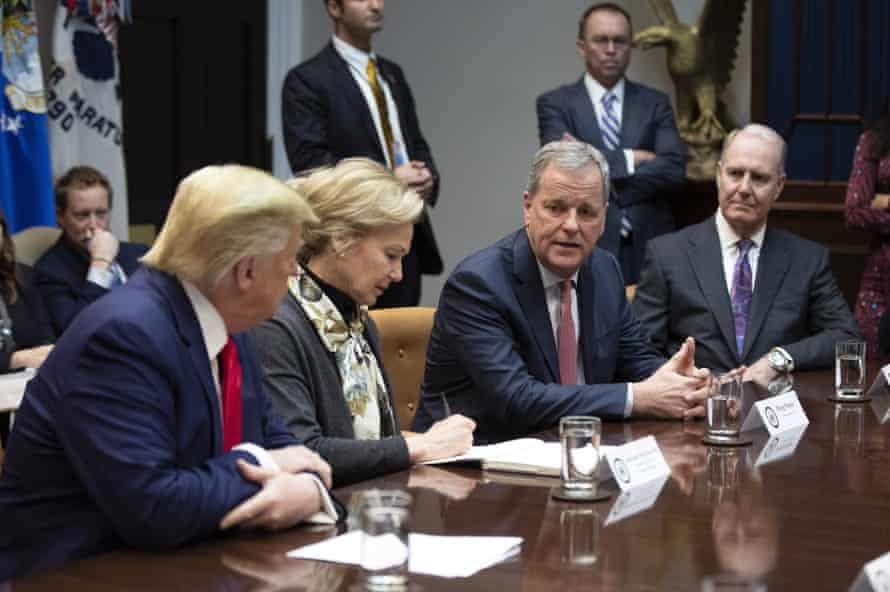 American Airlines boss Doug Parker, second from right, speaks as Donald Trump, White House coronavirus response coordinator Deborah Birx, and Southwest chief Gary Kelly listen during a coronavirus briefing at the White House.