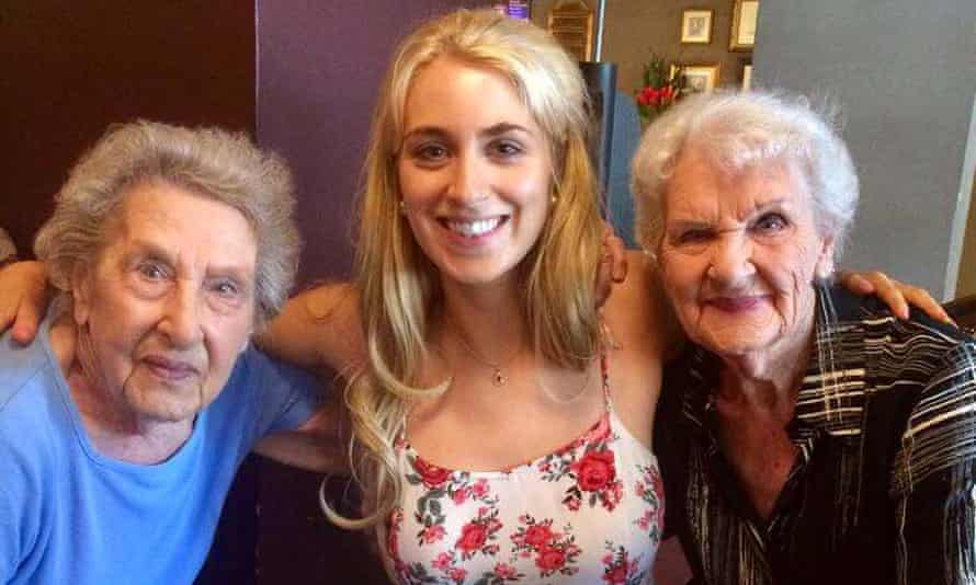 Pam (left) with her big sister Nora and granddaughter Sophie.