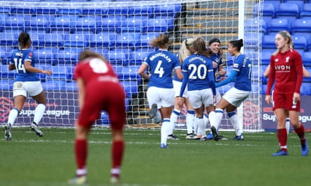 Everton celebrate during the Continental Cup match against Liverpool earlier this season.