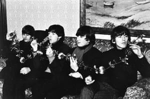 The Beatles relax at Caird Hall in Dundee