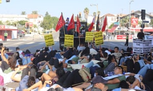 Activists hold a die-in in a Los Angeles demonstration on behalf of Filipino veterans.