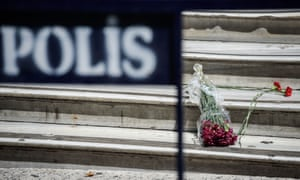 Istanbul, Turkey  Fowers left at the French consulate in central Istanbul