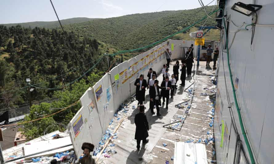 Ultra-Orthodox Jews gather at the site of the tragedy at Lag Ba'Omer on 30 April.