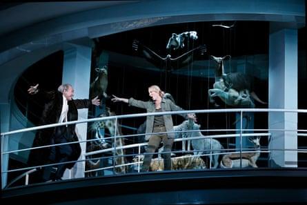 James Johnson as Wotan and Lise Lindstrom as Brünnhilde, among suspended taxidermy in Die Walküre