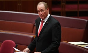 Katter's Australian party senator Fraser Anning makes his maiden speech in the Senate chamber at Parliament House in Canberra, Tuesday, 14 August.