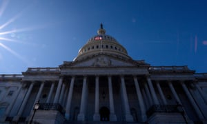 FILES-US-POLITICS-CONGRESS-TRUMP-IMPEACHMENT<br>(FILES) In this file photo taken on November 01, 2019 The sun shines over the US Capitol Building on an autumn afternoon in Washington DC. - A Republican lawmaker on Sunday broke with the US president and fellow party members to reject the idea that the whistleblower whose complaint prompted an impeachment inquiry into Donald Trump should have to testify publicly. (Photo by Eric BARADAT / AFP) (Photo by ERIC BARADAT/AFP via Getty Images)