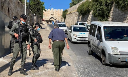 Israeli border police secure an area near Jerusalem's Old City where officers fatally shot a man they believed was armed.