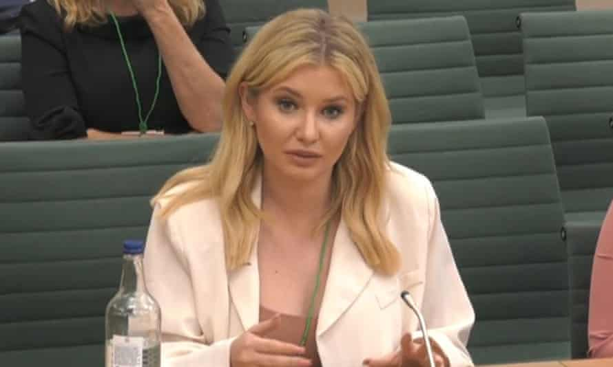 Former Love Island contestant Amy Hart giving evidence to the DCMS select committee