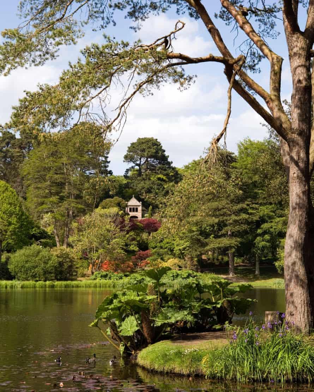 UK Northern Ireland County Down Mount Stewart House Gardens Tir Nan Og family burial ground across lake