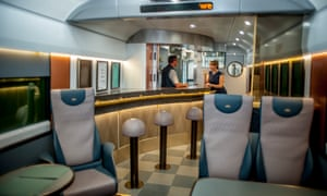 Bar area on a sleeper train from London to Penzance