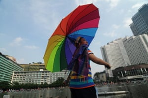 A march in Jakarta, Indonesia, to mark the International Day Against Homophobia, Biphobia and Transphobia in 2015