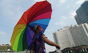 A gay rights supporter at a rally in Jakarta.
