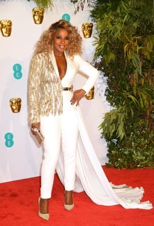 Mary J Blige was a vision working a white and gold Ralph & Russo two-piece tuxedo
