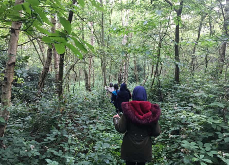 Children setting off on a tracking hunt at a Wild Things forest school