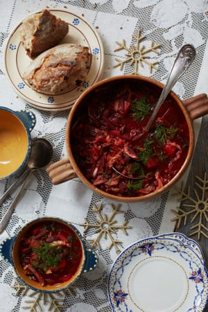 Olia Hercules' meatless borshch – it's the dried and fresh porcini that give it real depth.