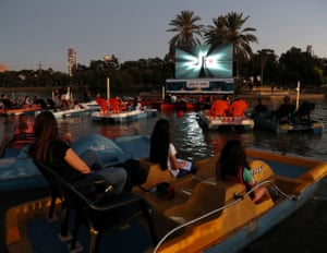 """Tel Aviv municipality's """"sail-in"""" floating cinema, which the municipality says aims to provide a solution to cultural outings that have been limited by coronavirus."""