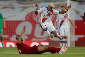 Fabinho tackles Crystal Palace's Patrick Van Aanholt,