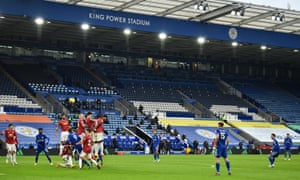 James Maddison of Leicester City takes a free kick.