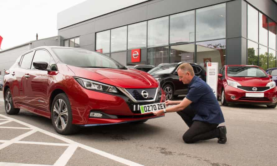 Though sales of petrol and diesel cars slumped, sales of battery electric cars such as the Nissan Leaf grew to about 6.6% of the UK market.