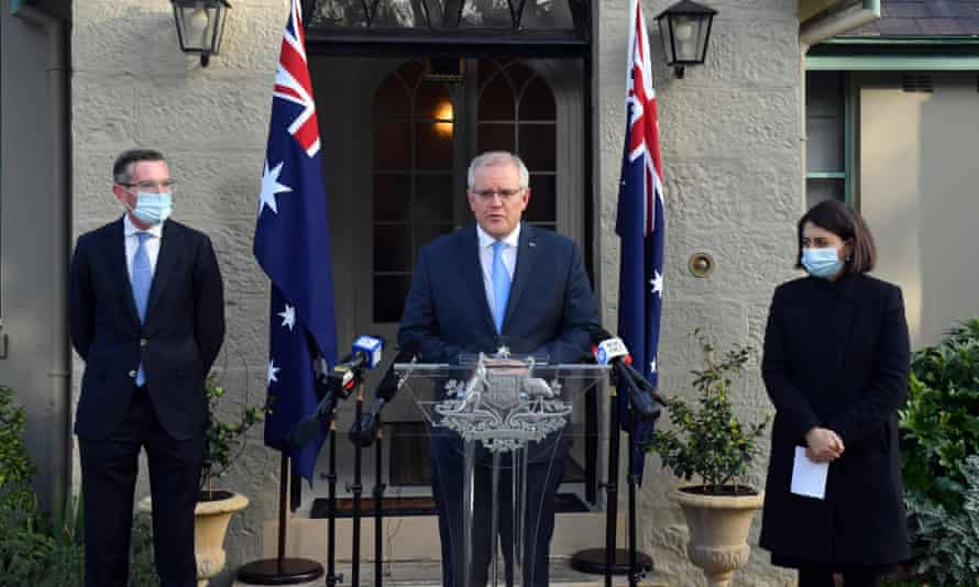 Dominic Perrottet, Scott Morrison and Gladys Berejiklian during the announcement of a Covid-19 financial support package at Kirribilli House.
