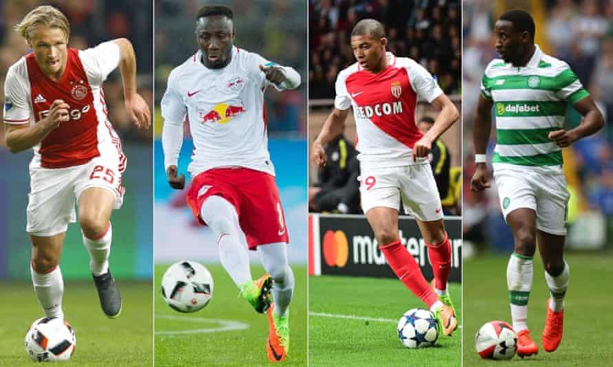 From left to right: Kasper Dolberg of Ajax, RB Leipzig's Naby Keïta, Kylian Mbappé of Monaco and Celtic's Moussa Dembelé.