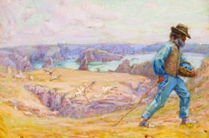 Untitled (Fisherman Père Polyte on the cliffs at Goulphar), by John Russell. Painting in watercolour and gouache