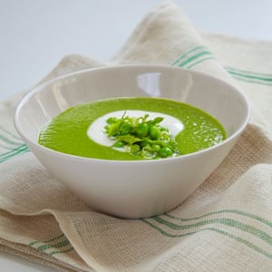 Sally Clarke's chilled pea soup with mint, spring onion and yogurt.