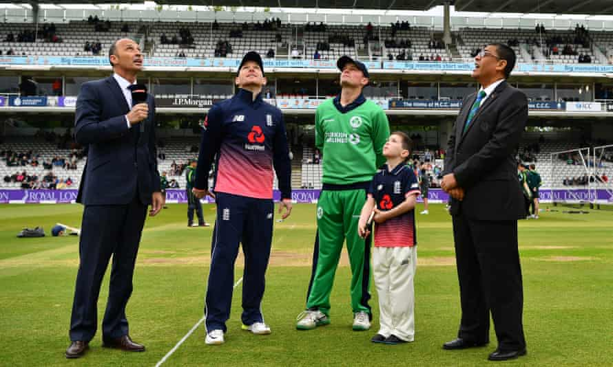 England captain Eoin Morgan at the toss before his side's clash with his birthplace Ireland at Lord's in 2017