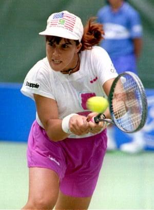 Jennifer Capriati hits the ball to Katerina Maleeva of Bulgaria at the 1993 Australian Open.
