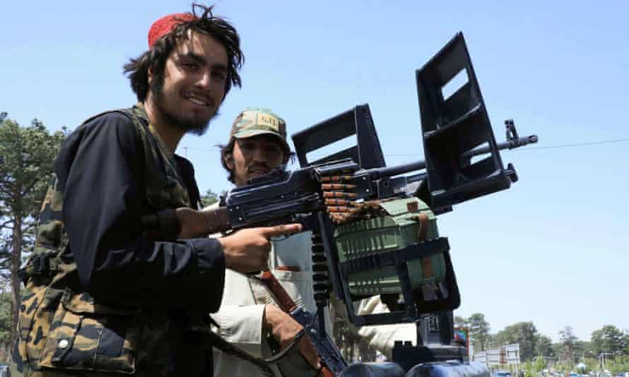 Taliban forces patrol a street in Herat on Saturday, 14 August. Fears are growing for thousands of Afghans who helped western forces during the conflict.