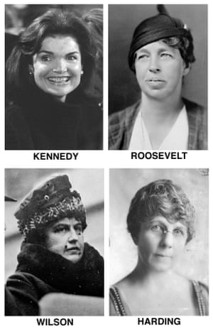 First ladies of the United States: Jacqueline Kennedy Onassis, Eleanor Roosevelt, Florence Harding and Edith Wilson.
