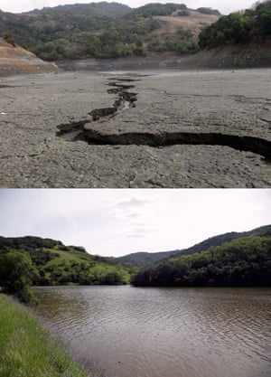 The Almaden reservoir in San Jose on 7 February 2014, below, and on 14 March 2016, above, showing the effects of California's drought.