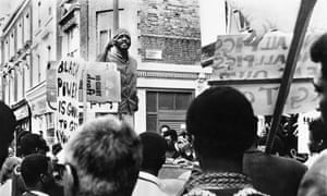 Radical … Darcus Howe addresses a rally for the Mangrove Nine in Notting Hill in 1971.