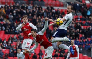 Tottenham's Harry Kane gets up to scores and beat Arsenal 1-0 at Wembley Stadium.