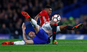 Manchester United's Marcus Rashford in action with Chelsea's Gary Cahill