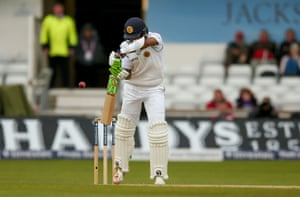 Dasun Shanaka nicks Jimmy Anderson's delivery into the grateful hands of England wicket keeper Jonny Bairstow.
