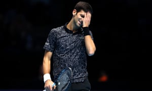 Novak Djokovic reacts to a point lost during the final.