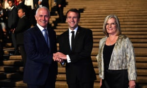 Emmanuel Macron with Malcolm and Lucy Turnbull