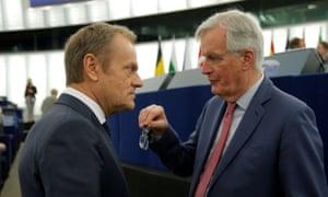 The EU's chief Brexit negotiator, Michel Barnier, and the European council president Donald Tusk.